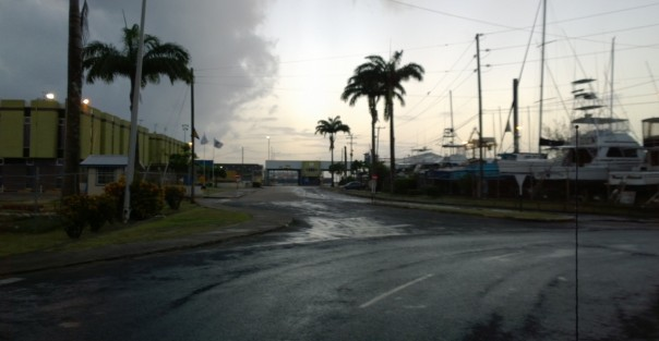 View of the Barbados Port Authority Entrance at dusk Photo by Bajan Mom